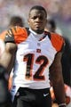 Nov 10, 2013; Baltimore, MD, USA;  Cincinnati Bengals wide receiver Mohamed Sanu (12) watches from the sidelines prior to the game against the Baltimore Ravens at M&T Bank Stadium. Mandatory Credit: Mitch Stringer-USA TODAY Sports