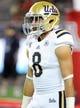 Nov 9, 2013; Tucson, AZ, USA; UCLA Bruins wide receiver Jalen Ortiz (8) warms up before the first quarter against the Arizona Wildcats at Arizona Stadium. Mandatory Credit: Casey Sapio-USA TODAY Sports