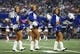 Aug 24, 2013; Arlington, TX, USA; Dallas Cowboys cheerleaders perform during a timeout from the game against the Cincinnati Bengals at AT&T Stadium. The Cowboys beat the Bengals 24-18. Mandatory Credit: Matthew Emmons-USA TODAY Sports
