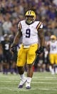 Aug 31, 2013; Arlington, TX, USA; LSU Tigers defensive tackle Ego Ferguson (9) in action against theTexas Christian Horned Frogs at AT&T Stadium. Mandatory Credit: Matthew Emmons-USA TODAY Sports