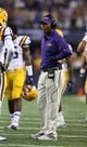 Aug 31, 2013; Arlington, TX, USA; LSU Tigers defensive backs coach Corey Raymond on the sidelines during the game against the Texas Christian Horned Frogs at AT&T Stadium. Mandatory Credit: Matthew Emmons-USA TODAY Sports