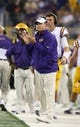 Aug 31, 2013; Arlington, TX, USA; LSU Tigers head coach Les Miles on the sidelines during the game against the Texas Christian Horned Frogs at AT&T Stadium. The LSU Tigers beat the TCU Horned Frogs 37-27. Mandatory Credit: Matthew Emmons-USA TODAY Sports