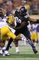 Aug 31, 2013; Arlington, TX, USA; Texas Christian Horned Frogs defensive lineman Tevin Lawson (99) in action during the game against LSU Tigers at AT&T Stadium. Mandatory Credit: Matthew Emmons-USA TODAY Sports