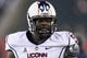 Nov 23, 2013; Philadelphia, PA, USA; Connecticut Huskies defensive tackle Shamar Stephen (59) along the sidelines during the fourth quarter against the Temple Owls at Lincoln Financial Field. UCONN defeated Temple 28-21. Mandatory Credit: Howard Smith-USA TODAY Sports
