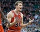 Nov 25, 2013; Salt Lake City, UT, USA; Chicago Bulls guard Mike Dunleavy (34) reacts to a call during the second half against the Utah Jazz at EnergySolutions Arena. The Jazz won 89-83 in overtime. Mandatory Credit: Russ Isabella-USA TODAY Sports
