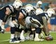 Nov 17, 2013; Miami Gardens, FL, USA; The San Diego Chargers offensive line sets for a play against the Miami Dolphins at Sun Life Stadium. The Dolphins won the game 20-16. Mandatory Credit: Joe Camporeale-USA TODAY Sports