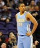 Nov 8, 2013; Phoenix, AZ, USA; Denver Nuggets point guard Andre Miller (24) looks to the bench during the second quarter against the Phoenix Suns at US Airways Center. Mandatory Credit: Casey Sapio-USA TODAY Sports