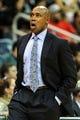 Nov 26, 2013; Atlanta, GA, USA; Orlando Magic head coach Jacque Vaughn reacts to a play in the first half against the Atlanta Hawks at Philips Arena. Mandatory Credit: Daniel Shirey-USA TODAY Sports