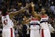 Nov 26, 2013; Washington, DC, USA; Washington Wizards power forward Nene Hilario (42) celebrates with Wizards small forward Trevor Ariza (1) against the Los Angeles Lakers in the fourth quarter at Verizon Center. The Wizards won 116-111. Mandatory Credit: Geoff Burke-USA TODAY Sports