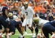 Nov 23, 2013; Syracuse, NY, USA; Pittsburgh Panthers quarterback Tom Savage (7) calls a play at the line against the Syracuse Orange during the first quarter at the Carrier Dome.  Pittsburgh defeated Syracuse 17-16.  Mandatory Credit: Rich Barnes-USA TODAY Sports