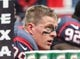 Nov 24, 2013; Houston, TX, USA; Houston Texans defensive end J.J. Watt (99) sits on the bench during the first quarter against the Jacksonville Jaguars at Reliant Stadium. Mandatory Credit: Troy Taormina-USA TODAY Sports