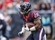 Nov 24, 2013; Houston, TX, USA; Houston Texans running back Dennis Johnson (28) rushes during the second quarter against the Jacksonville Jaguars at Reliant Stadium. Mandatory Credit: Troy Taormina-USA TODAY Sports