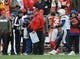 Nov 24, 2013; Kansas City, MO, USA; Kansas City Chiefs head coach Andy Reid and San Diego Chargers quarterback Philip Rivers (17) exchange words on the sidelines after a play in the second half of the game at Arrowhead Stadium. The Chargers won 41-38. Mandatory Credit: Denny Medley-USA TODAY Sports