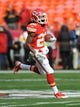 Nov 24, 2013; Kansas City, MO, USA; Kansas City Chiefs wide receiver Dexter McCluster (22) warms up before the game against the San Diego Chargers at Arrowhead Stadium. The Chargers won 41-38. Mandatory Credit: Denny Medley-USA TODAY Sports