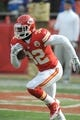 Nov 24, 2013; Kansas City, MO, USA; Kansas City Chiefs running back Cyrus Gray (32) warms up before the game against the San Diego Chargers at Arrowhead Stadium. The Chargers won 41-38. Mandatory Credit: Denny Medley-USA TODAY Sports