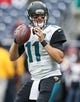 Nov 24, 2013; Houston, TX, USA; Jacksonville Jaguars quarterback Blaine Gabbert (11) warms up before a game against the Houston Texans at Reliant Stadium. Mandatory Credit: Troy Taormina-USA TODAY Sports