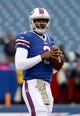 Nov 17, 2013; Orchard Park, NY, USA; Buffalo Bills quarterback EJ Manuel (3) looks to throw a pass before a game against the New York Jets at Ralph Wilson Stadium. Mandatory Credit: Timothy T. Ludwig-USA TODAY Sports