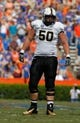 Nov 9, 2013; Gainesville, FL, USA; Vanderbilt Commodores offensive linesman Andrew Jelks (50) against the Florida Gators during the first quarter at Ben Hill Griffin Stadium. Mandatory Credit: Kim Klement-USA TODAY Sports