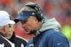 Nov 24, 2013; Kansas City, MO, USA; San Diego Chargers head coach Mike McCoy speaks with officials in a timeout during the second half of the game against the Kansas City Chiefs at Arrowhead Stadium. The Chargers won 41-38. Mandatory Credit: Denny Medley-USA TODAY Sports