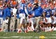 Nov 9, 2013; Gainesville, FL, USA; Florida Gators head coach Will Muschamp reacts against the Vanderbilt Commodores during the second quarter at Ben Hill Griffin Stadium. Mandatory Credit: Kim Klement-USA TODAY Sports
