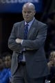 Nov 27, 2013; Charlotte, NC, USA; Charlotte Bobcats head coach Steve Clifford reacts during the first quarter against the Indiana Pacers at Time Warner Cable Arena. Mandatory Credit: Joshua S. Kelly-USA TODAY Sports