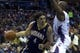 Nov 27, 2013; Charlotte, NC, USA; Indiana Pacers power forward Luis Scola (4) drives to the basket while being defended by Charlotte Bobcats power forward Anthony Tolliver (43) during the fourth quarter at Time Warner Cable Arena. Pacers won 99-74. Mandatory Credit: Joshua S. Kelly-USA TODAY Sports