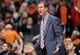 Nov 27, 2013; Phoenix, AZ, USA; Portland Trail Blazers head coach Terry Stotts reacts on the sidelines against the Phoenix Suns in the first half at US Airways Center. Mandatory Credit: Jennifer Stewart-USA TODAY Sports