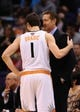 Nov 27, 2013; Phoenix, AZ, USA; Phoenix Suns guard Goran Dragic (1) talks with head coach Jeff Hornacek in the second half against the Portland Trail Blazers at US Airways Center. The Suns won 120 -106. Mandatory Credit: Jennifer Stewart-USA TODAY Sports