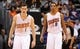 Nov 27, 2013; Phoenix, AZ, USA; Phoenix Suns forward Channing Frye (8) and guard Goran Dragic (1) walk on the court against the Portland Trail Blazers in the second half at US Airways Center. The Suns won 120 -106. Mandatory Credit: Jennifer Stewart-USA TODAY Sports