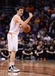 Nov 27, 2013; Phoenix, AZ, USA; Phoenix Suns guard Goran Dragic (1) dribbles the ball against the Portland Trail Blazers in the second half at US Airways Center. The Suns won 120-106. Mandatory Credit: Jennifer Stewart-USA TODAY Sports