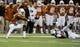 Nov 28, 2013; Austin, TX, USA; Texas Longhorns cornerback Duke Thomas (21) intercepts a pass against the Texas Tech Red Raiders during the first quarter at Darrell K Royal-Texas Memorial Stadium. Mandatory Credit: Brendan Maloney-USA TODAY Sports