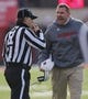Nov 29, 2013; Lincoln, NE, USA; Nebraska Cornhuskers head coach yells as an official calls Pelini for unsportsmanlike conduct during the game against the  Iowa Hawkeyes in the third quarter at Memorial Stadium. Iowa won 38-17. Mandatory Credit: Bruce Thorson-USA TODAY Sports