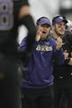 Nov 29, 2013; Seattle, WA, USA; Washington Huskies head coach Steve Sarkisian applauds his team following a touchdown against the Washington State Cougars during the third quarter at Husky Stadium. Mandatory Credit: Joe Nicholson-USA TODAY Sports