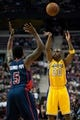 Nov 29, 2013; Auburn Hills, MI, USA; Detroit Pistons shooting guard Kentavious Caldwell-Pope (5) guards Los Angeles Lakers shooting guard Jodie Meeks (20) during the first quarter at The Palace of Auburn Hills. Mandatory Credit: Tim Fuller-USA TODAY Sports
