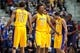 Nov 29, 2013; Auburn Hills, MI, USA; Los Angeles Lakers shooting guard Wesley Johnson (11) and small forward Nick Young (0) celebrate during the fourth quarter against the Detroit Pistons at The Palace of Auburn Hills. Lakers won 106-102. Mandatory Credit: Tim Fuller-USA TODAY Sports