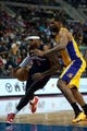 Nov 29, 2013; Auburn Hills, MI, USA; Detroit Pistons small forward Josh Smith (6) drives to the basket against Los Angeles Lakers power forward Shawne Williams (3) during the third quarter at The Palace of Auburn Hills. Lakers won 106-102. Mandatory Credit: Tim Fuller-USA TODAY Sports