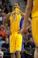 Nov 29, 2013; Auburn Hills, MI, USA; Los Angeles Lakers shooting guard Wesley Johnson (11) reacts to a call during the second quarter against the Detroit Pistons at The Palace of Auburn Hills. Mandatory Credit: Tim Fuller-USA TODAY Sports