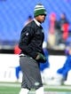 Nov 24, 2013; Baltimore, MD, USA; New York Jets quarterback Geno Smith (7) warms up prior to the game against the Baltimore Ravens at M&T Bank Stadium. Mandatory Credit: Evan Habeeb-USA TODAY Sports