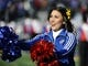 Nov 30, 2013; Lawrence, KS, USA; A Kansas Jayhawks cheerleader performs before the game against the Kansas State Wildcats at Memorial Stadium. Kansas State won the game 31-10. Mandatory Credit: John Rieger-USA TODAY Sports
