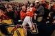 Nov 30, 2013; Atlanta, GA, USA; Georgia Bulldogs quarterback Hutson Mason (14) celebrates with fans after beating the Georgia Tech Yellow Jackets at Bobby Dodd Stadium. Georgia won 41-34 in overtime. Mandatory Credit: Daniel Shirey-USA TODAY Sports