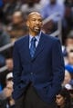 Nov 29, 2013; Philadelphia, PA, USA; New Orleans Pelicans head coach Monty Williams during the first quarter against the Philadelphia 76ers at the Wells Fargo Center. The Pelicans defeated the Sixers 121-105. Mandatory Credit: Howard Smith-USA TODAY Sports