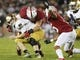 Nov 30, 2013; Stanford, CA, USA; Stanford Cardinal linebacker Shayne Skov (11) sacks Notre Dame Fighting Irish quarterback Tommy Rees (11) during the fourth quarter at Stanford Stadium. The Stanford Cardinal defeated the Notre Dame Fighting Irish 27-20. Mandatory Credit: Kelley L Cox-USA TODAY Sports