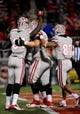 Nov 30, 2013; Las Vegas, NV, USA; UNLV Rebels players celebrate after wide receiver Devante Davis (81) scored a touchdown against the San Diego State Aztecs during an NCAA football game at Sam Boyd Stadium. Mandatory Credit: Stephen R. Sylvanie-USA TODAY Sports