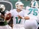 Dec 1, 2013; East Rutherford, NJ, USA; Miami Dolphins quarterback Ryan Tannehill (17) throws a pass against the New York Jets in the second half during the game at MetLife Stadium. Mandatory Credit: Robert Deutsch-USA TODAY Sports