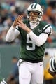 Dec 1, 2013; East Rutherford, NJ, USA; New York Jets quarterback Matt Simms (5) calls a timeout during the fourth quarter of a game against the Miami Dolphins at MetLife Stadium. The Dolphins defeated the Jets 23-3. Mandatory Credit: Brad Penner-USA TODAY Sports