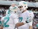 Dec 1, 2013; East Rutherford, NJ, USA; Miami Dolphins wide receiver Brian Hartline (82) and quarterback Ryan Tannehill (17) celebrate after scoring a touchdown against the New York Jets during the third quarter of a game at MetLife Stadium. The Dolphins defeated the Jets 23-3. Mandatory Credit: Brad Penner-USA TODAY Sports