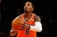 Dec 1, 2013; New York, NY, USA;   New York Knicks shooting guard J.R. Smith (8) shoots a free throw during the second quarter against the New Orleans Pelicans at Madison Square Garden. Mandatory Credit: Anthony Gruppuso-USA TODAY Sports