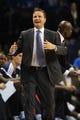Dec 1, 2013; Oklahoma City, OK, USA; Oklahoma City Thunder head coach Scott Brooks reacts to a call in action against the Minnesota Timberwolves at Chesapeake Energy Arena. Mandatory Credit: Mark D. Smith-USA TODAY Sports