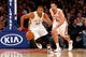 Dec 1, 2013; New York, NY, USA;  New Orleans Pelicans shooting guard Eric Gordon (10) races for a loose ball during the third quarter against the New York Knicks at Madison Square Garden. New Orleans Pelicans won 103-99.  Mandatory Credit: Anthony Gruppuso-USA TODAY Sports