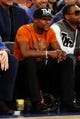 Dec 1, 2013; New York, NY, USA;  American boxer Floyd Mayweather Jr at the game between the New York Knicks and the New Orleans Pelicans at Madison Square Garden. New Orleans Pelicans won 103-99.  Mandatory Credit: Anthony Gruppuso-USA TODAY Sports